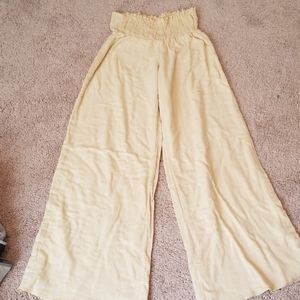 Linen lemon yellow double layer wide leg pants